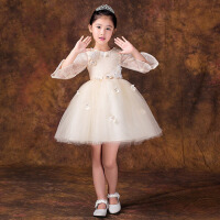 女童钢琴主持人演出服蓬蓬裙公主裙 儿童礼服长袖生日花童婚纱夏季 香槟色