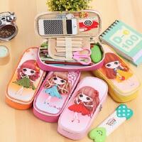可爱创意小女孩铅笔袋 韩国笔袋文具盒女卡通女学生儿童学习铅笔盒
