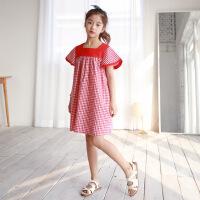 韩版公主连衣裙夏棉麻格子童装裙中大童