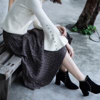 A型中长款2017年冬季A字裙高腰半身裙纯色韩版百搭时尚休闲 均码