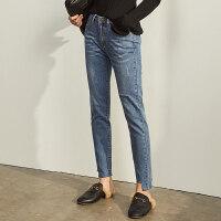 【预估价134元】Amii极简洋气休闲破洞牛仔裤九分裤女2019秋季新款修身显瘦裤子潮