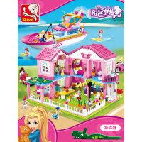 �犯咂醋岸�童玩具女孩子积木公主别墅3城堡6-8岁过家家益智力学生