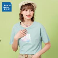 真维斯女装 2021春装新款 全棉仿丝光平纹布圆领印花短袖T恤
