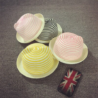 宝宝草帽夏天小礼帽卷沿儿童沙滩帽遮阳帽男女童太阳帽可爱耳朵帽