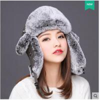 复古防寒獭兔毛东北滑雪皮草帽子女户外保暖护耳獭兔毛包头雷锋帽