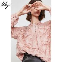 Lily2019秋新款女装浪漫玫瑰粉流苏亮丝宽松长袖飘带雪纺衫8947