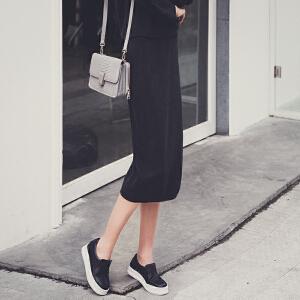 七格格秋冬新款 高街简洁纯色气质显瘦针织半身裙