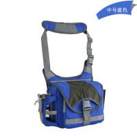 摄影包单肩单反照相机包60D 700d 5d3斜跨户外迷彩 中号蓝色