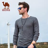 骆驼男装 秋季新款圆领套头微弹纯色男青年针织衫毛衣