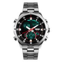 户外运动男士手表个性防水电子手表时尚潮流双显大表盘商务钢带腕表