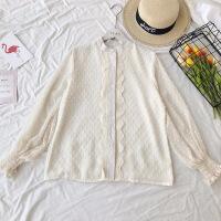 2018春装新白色衬衫女长袖款韩范立领花边雪纺衫春季打底衫上衣 均码