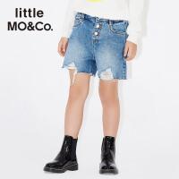 littlemoco秋季新品女童短裤弹力腰金属扣破洞毛边牛仔裤牛仔短裤