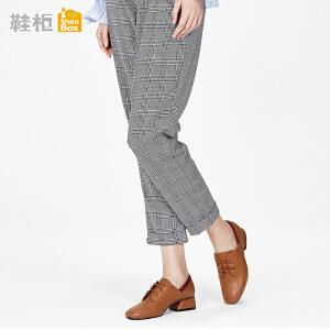 达芙妮集团鞋柜鞋柜18春季杜拉拉深口方跟单鞋英伦方头