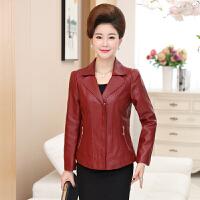 中老年春女士皮衣短款40-50岁妈妈装PU皮夹克衫中年妇女长袖外套