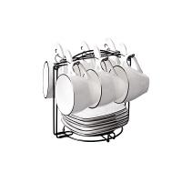北欧风格陶瓷咖啡杯套装组合4-6件套带碟勺创意简约家用欧式个性 6杯6碟6勺+架子 赠2勺1杯刷