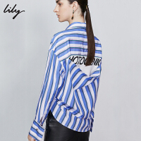 Lily2019秋新款流行条纹字母印花长袖宽松直筒中长款衬衫女4931