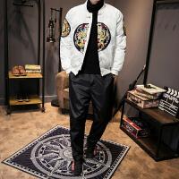 2017男装冬季新中国风男士刺绣个性龙袍青年棉衣长裤套装