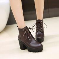 O'SHELL欧希尔新品136-Q71欧美粗跟女士短靴