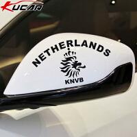 汽车贴纸 荷兰队队徽反光贴 后视镜贴 KNVB球队标志狮子车贴