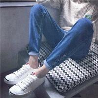 韩观破洞九分牛仔裤男生韩版潮流春季2018新款百搭学生小脚修身型裤子