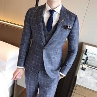西装套装男修身韩版礼服结婚新郎青年夏季格子婚礼三件套男士西服