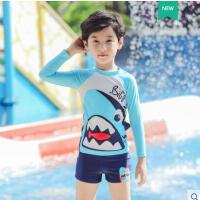 儿童连体泳衣宝宝中大童小男孩婴幼儿学生长短袖两件套鲨鱼游泳装