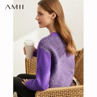 【到手价:182元】Amii极简洋气潮流个性毛衣女2019秋新款宽松撞色拼接套头毛针织衫