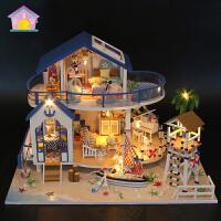 弘达diy手工创意 小屋情侣豪华别墅模型女生超大拼装玩具房子成人