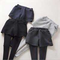 2017秋冬季新款韩版加绒加厚假两件打底裤女包臀显瘦外穿裙裤