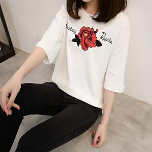 2018夏季新款韩版短款宽松绣花五分袖冰麻针织套头百搭T恤学院风