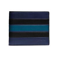 【网易考拉】COACH 蔻驰 男士 短款时尚条纹对折钱夹 蓝黑条纹