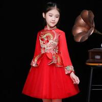 儿童礼服公主裙蓬蓬裙女童旗袍唐装花童主持人晚礼服长袖秋季新款 红 色