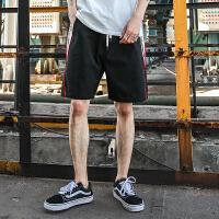 男士休闲裤宽松运动裤青少年潮流字母印花短裤撞色男裤子