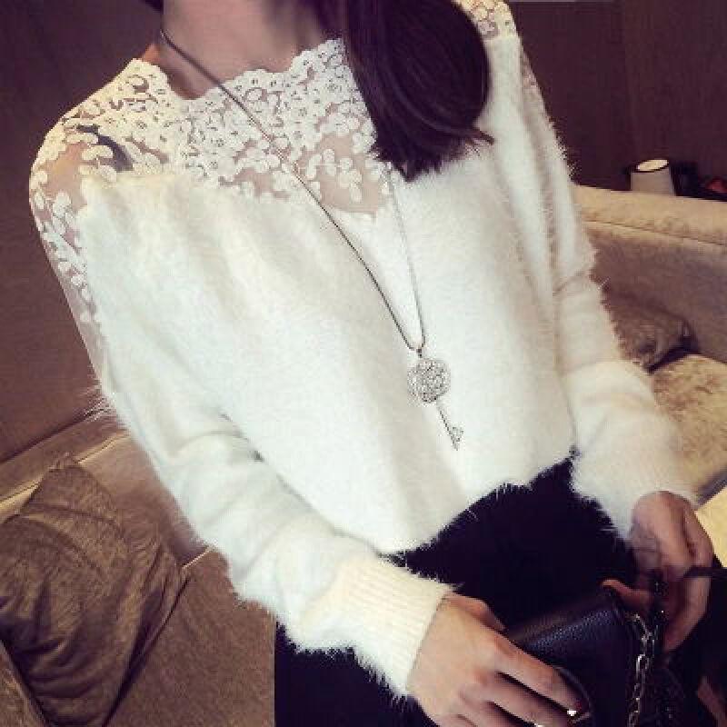 秋季新款女装韩国套头圆领蕾丝拼接马海毛长袖针织毛衣女打底衫