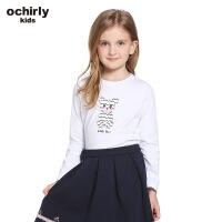 ochirly kids欧时力童装女童2017新款刺绣印花纯棉T恤5J01025150