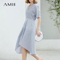 Amii极简冷淡风法式少女V领连衣裙2018夏新收腰条纹衬衫裙子.