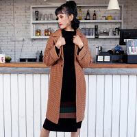 小米家 春秋新品韩版中长款插肩袖宽松毛呢外套大衣