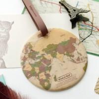 旅行行李牌 拉杆箱托运标记牌 背包吊牌 圆形 地图SN7239 vintage 复古色
