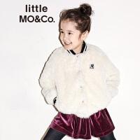 littlemoco秋冬新品儿童外套条纹仿羊羔毛保暖男女童夹克棒球服