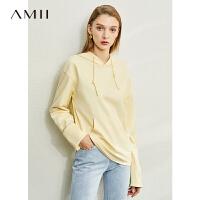 【到手价:119元】Amii极简字母绣花纯棉连帽卫衣女2020春季新款薄款潮宽松百搭上衣