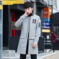 男士毛呢大衣春秋季韩版修身潮流帅气呢子外套青年休闲衣服妮