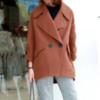 秋冬韩版大码女装宽松加厚小个子短款毛呢外套女学生斗篷大衣