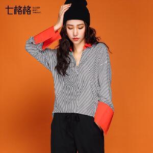 七格格 秋季衬衫女韩版学生宽松V领2017新款拼接撞色蝙蝠袖长袖条纹衬衣