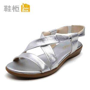 达芙妮旗下shoebox鞋柜时尚夏简约平底女凉鞋 低跟露趾防滑沙滩鞋