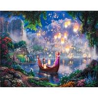 油画公主拼图1000木质风景拼图儿童玩具