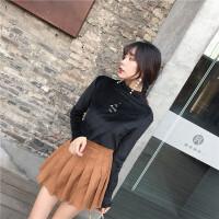 韩观半高领打底衫秋装女新款复古刺绣丝绒长袖T恤港味修身黑色上衣潮 均码