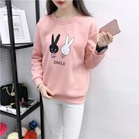 新款韩版潮印花卫衣女秋冬大码女装女士上衣学生抓绒外套