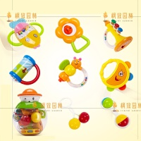 摇铃玩具新生儿婴儿玩具婴幼儿牙胶手摇铃瓶套装0-1岁