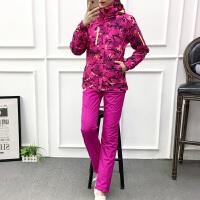 冲锋衣女套装冬季加绒加厚户外女裤运动徒步滑雪登山服装大码外套