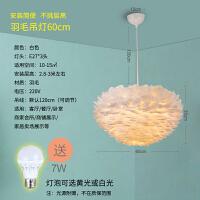 美式羽毛吊灯北欧简约卧室书房浪漫创意灯个性鸟巢灯婚房装饰灯具